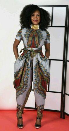 Jem Dashiki Grey Harem Jumpsuit African print clothing by RAHYMA