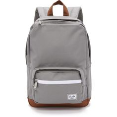 Herschel Supply Co. Pop Quiz Backpack (91 CAD) ❤ liked on Polyvore featuring bags, backpacks, grey, faux leather backpack, padded laptop bag, gray backpack, backpack laptop bag and backpacks bags