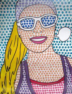 Pop Art Self Portraits- Roy Lichtenstein Inspired olivia I originally found this lesson on Pinterest through https://www.flickr....