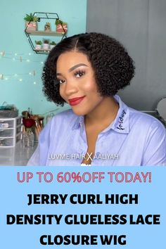 Extra off coupon code: PIN27 💋 Totally impressed with the final result, freaking gorgeous!💥 Protective Hairstyles For Natural Hair, Curly Hairstyles, Natural Hair Styles, Jerry Curl, G Hair, Curl Pattern, Short Curly Hair, Lace Closure, 100 Human Hair
