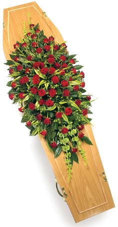 Spray Roses Red and Green Funeral Floral Arrangements, Church Flower Arrangements, Church Flowers, Funeral Flowers, Wedding Flowers, Funeral Caskets, Casket Flowers, Funeral Sprays, Casket Sprays