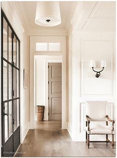 sherwin williams alabaster hall beach style with transitional wall sconces Door Design, House Design, Modern Door, Interior Design Inspiration, Design Ideas, House Rooms, Home Lighting, Modern Minimalist, Interior And Exterior