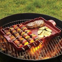 Emile Henry BBQ Ceramic Kabab Grilling Stone with Skewers  Easily grill delicate seafood, poultry, meat or vegetables with this even-heating Emile Henry grilling stone. $79.95