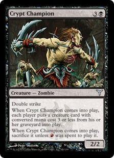 Magic the Gathering- Set of 3 Uncommon Crypt Champion Zombie Creature Cards with Bonus!!