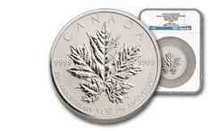 Maple Leaf Coins /  2013 Canada 5-oz Silver Maple Leaf 25th Anniv. NGC PF69