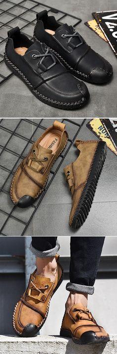 US$34.5#Men's Vintage Cap Toe Hand Stitching Stylish Flat Slip On Casual Shoes