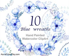Watercolor Clipart Blue Wreaths  hand-painted by AqwaColor on Etsy