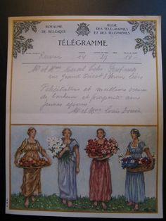Antique 1941 Original Old Lithograph Telegram Royaume Belgium Royal De Belgique
