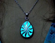 Aqua Glowing Necklace Glow in the Dark Jewelry Sun in your Life Pear pendant  #Locket