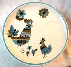 Fabulous Unused Set of 8 Mid-Century Cera-Stone Snack Plates with Blue  Olive/Avocado Green Rooster  Flower Design by Jonas Roberts. At AngelGrace on Etsy.