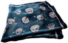hand painted silk skull scarves