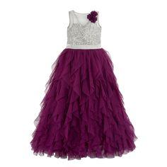 Girls purple waterfall dress.