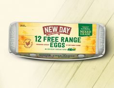New Day Free Range Eggs on Packaging of the World - Creative Package Design Gallery Egg Packaging, Farm Day, Free Range, Packaging Design Inspiration, New Day, Service Design, Healthy Recipes, Healthy Food, Projects To Try