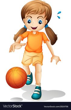 A young girl playing basketball Royalty Free Vector Image Yoga For Kids, Art For Kids, Cute Turtle Cartoon, Birthday Charts, Kids Background, School Painting, Human Drawing, Chibi Girl, Cute Clipart