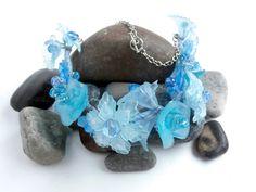 Blue Flower  Vintage Necklace  Lucite  Swarovski by ReTainReUse