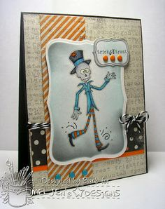 The Buzz: Trick or Treat with Mr. Bones. Halloween card featuring a digital stamp from #MelJen's Designs.