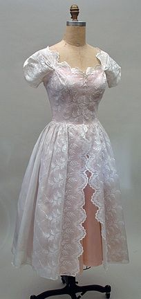 1950s Party Dress in White Embroidered Organdy & Peach Taffeta
