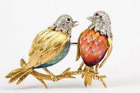 Italský 18K žluté zlato Komplikované Diamond Ruby smaltové 2 Birds Animal Pin Brož