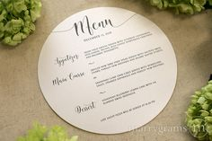 Round Wedding Menu Darling Style from Marrygrams // Announce your delicious wedding fare in style with these beautiful round wedding menus, perfect to place on plate chargers at your reception! Printed on ultra-thick white or ivory shimmer cardstock, 'Menu' and the date are shown in the image above, but these can be customized with your names, monogram or other wording to fit your needs. Be sure to check out all of our Wedding Reception Menus!
