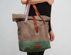 Hey, I found this really awesome Etsy listing at https://www.etsy.com/listing/185656228/roll-top-tote-bag-waxed-canvas