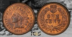The 1877 Indian Head Cent--- a tough date! The lower part of N in ONE on the reverse is weak. American Coins, Gold Bullion, Indian Head, Rare Coins, Old And New, Precious Metals, Money, Paper, Silver