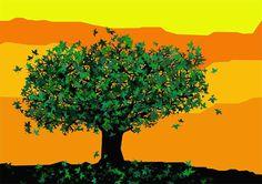 Large Print  Colourful tree  Art Print  by Theredumbrellashop
