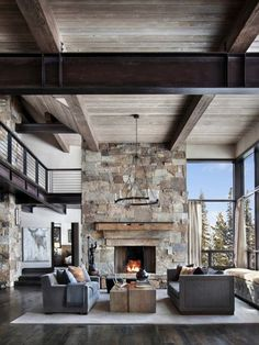 This mountain modern dwelling was designed by Centre Sky Architecture, located in the community of Moonlight Basin in Big Sky, Montana. Modern Rustic Homes, Modern Rustic Interiors, Modern Room, Rustic Contemporary, Modern Cabins, Big Modern Houses, Modern Lodge, Bedroom Modern, Master Bedroom