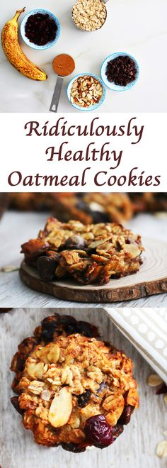 healthy cookie | healthy oatmeal cookie | Banana cookie | banana oatmeal cookie | healthy snack | almond cookie| flourless oatmeal cookie | healthy chocolate chip cookie | chocolate chip oatmeal cookie | gluten free oatmeal cookie | dairy free oatmeal cookie | clean eating cookie |vegan oatmeal cookie |