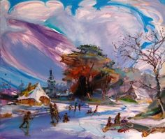 red-lipstick: Angela Dufresne (b. Hartford, CT, based Brooklyn, NY) - The Battle Royale With Beheadings WinterTime, 2012 Paintings: Oil on Canvas Daddys Girl, Red Lipsticks, Winter Time, Oil On Canvas, Graffiti, Clouds, Landscape, Brooklyn, Battle
