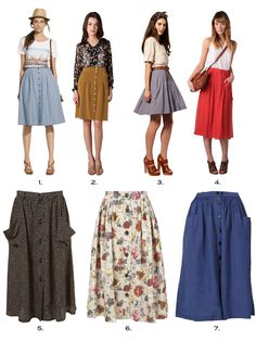 What I love about these skirts? These 70's inspired skirts are very versatile - pair with a tank top, cardigan or crisp button down collared shirt on a hot summer day or cool spring morning. My fav. is #4 red skirt - love the pockets and can see myself wearing it with a bright yellow cardigan or a gold sequin tank - my motto is why not? - brands pictured - (1) madewell (2) tibi (3) asos, vera moda (4) rebecca taylor (5) topshop (6) D&G (7) zara