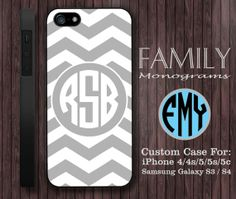 grey chevron monogram hard plastic case for by familymonogram, $15.99