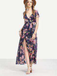 Multicolor+Flower+Print+V+Neck+Split+Chiffon+Dress+26.99