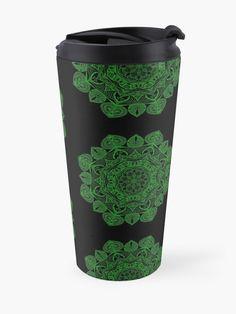 """Green Mandala Pattern - Just Let Go"" Travel Mug by klyngiant   Redbubble Mandala Pattern, Travel Mug, Letting Go, Let It Be, Mugs, Green, Artist, Accessories, Lets Go"