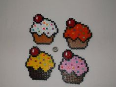 Cupcake Coaster Set  Perler beads by melanieballestrazze