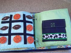 tic tac toe page for quiet book. cute for a boy. Use flowers (or something else girly) for a girl
