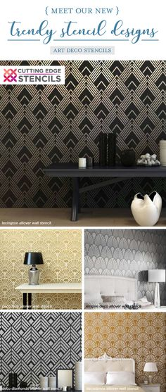 Cutting Edge Stencils shares a New wall stencil collection that includes trendy art deco wall patterns for accent walls Stencil Decor, Wall Stencil Patterns, Stencil Designs, Wall Stenciling, Interior Wallpaper, Diy Wallpaper, Wallpaper Quotes, Art Deco Design, Wall Design