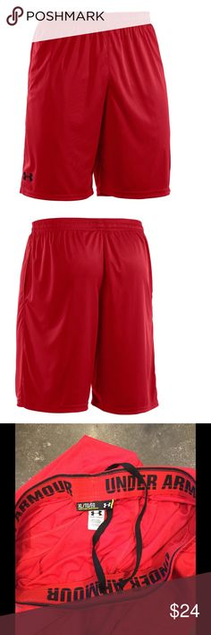 """Under Armour micro athletic loose shorts soccer XL Excellent used condition w/ no flaws. •4-Way Stretch fabrication allows greater mobility and maintains shape •Full, loose fit for enhanced range of motion & breathable comfort no matter where your workout takes you. •Covered elastic waistband with internal drawcord •Mesh hand pockets and 10"""" inseam •100% Polyester •Style 1236423 Under Armour Shorts Athletic"""