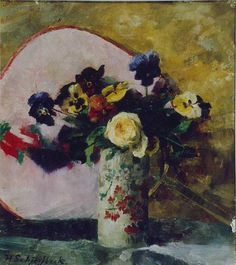 Helene Schjerfbeck - ca. 1887 Unusual surname for a Finn. Helene Schjerfbeck, Painting Still Life, Pictures To Paint, Flower Art, Art Flowers, Abstract Flowers, Pansies, Artist Art, Landscape Paintings