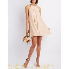 Charlotte Russe Bib Neck Shift Dress ($40) ❤ liked on Polyvore featuring dresses, nude, one strap bridesmaid dresses, charlotte russe, white dress, bridesmaid dresses and nude dress