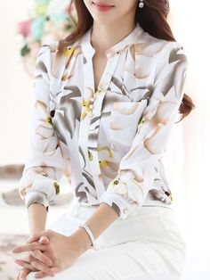 Buy Blouses & Shirts For Women at PopJulia. Online Shopping Printed Long Sleeve Stand Collar Chiffon Elegant Blouse, The Best Blouses & Shirts For Women. Discover Fashion Trends at Blouse Styles, Blouse Designs, Modest Fashion, Fashion Outfits, Fashion Trends, Fashion Shirts, Womens Fashion, Fashion Design, Cut Up Shirts