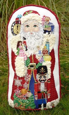 """Nutcracker Santa"" Hand-painted Canvas by Amanda Lawford Stitched by Summer Truswell I finished him as a stand-up. Needlepoint Designs, Needlepoint Stitches, Needlepoint Canvases, Needlework, Cross Stitch Christmas Stockings, Christmas Stocking Pattern, Christmas Cross, Needlepoint Stockings, Christmas Drawing"