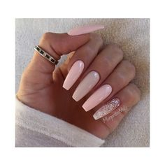 Nude Ballerina/Coffin Nails Nail Art Gallery ❤ liked on Polyvore featuring nails and beauty