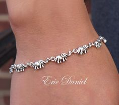 Elephant Charm Bracelet Sterling Silver by EricDanielDesigns