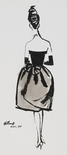 Fashion illustration of Balenciaga dress by Alfredo Bouret . Collection, Powerhouse Museum.