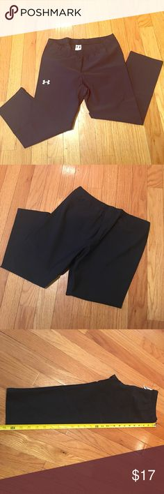 Under Armour Crop workout Leggings Under Armour black crop workout leggings. Size M. Worn a few times and in excellent condition. Length measures 25 inches from waist to crop leg opening. These are very comfortable and light weight. BUNDLE and save on workout gear! Under Armour Other
