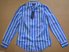 NWT Women Tommy Hilfiger Long-Sleeve Business Casual Shirt Blue White XL X-Large #TommyHilfiger #ButtonDownShirt #Casual