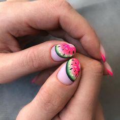 Bright Nail Polish, Bright Nails, Pink Nails, Glitter Nails, Shellac Nail Art, Best Acrylic Nails, Acrylic Gel, Watermelon Nail Designs, Hello Nails