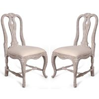 White Washed Cabriole Barrel Chairs