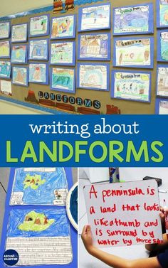 Ideas and activities for learning, building and writing about landforms. See our imaginary islands and creative narrative writing about landforms. Social Studies Classroom, Social Studies Activities, 2nd Grade Classroom, Teaching Social Studies, Teaching Activities, Science Activities, Student Learning, Teaching Ideas, Early Learning