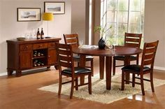 Homelegance 586 Round Four Drop Leaf Table - Darvin Furniture - Kitchen Table Dining Table In Kitchen, Round Dining Table, Dark Oak Furniture, Furniture Sets, Lazy Susan Table, Round Dining Room Sets, Drop Leaf Table, Wood Vinyl, Home Kitchens
